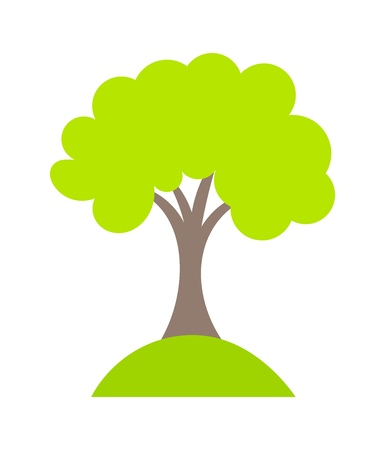 tree  forest: Symbolic tree growing on hill. Vector illustration