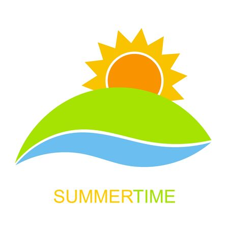over hill: Summertime icon vector. Sunrise over hill and river