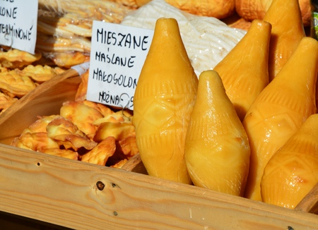 oscypek: Traditional polish smoked cheese oscypek on stall in Zakopane