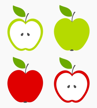 Apples. Set of red, green and half of fruit with leaf. Vector illustration