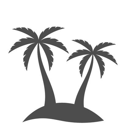 Palm bomen silhouet op het eiland. Vector illustratie