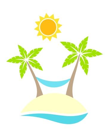 hammock: Palm trees and hammock on island. Summer holidays
