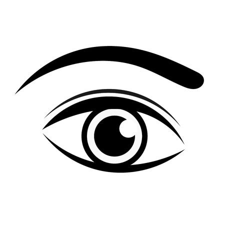 ojos negros: Icono del ojo negro. Ilustración vectorial