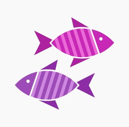 symbolic: Striped symbolic fish. Vector illustration