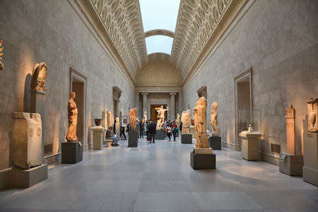 museum visit: NEW YORK CITY - OCTOBER 22, 2014: Exhibition of Greek Art at Metropolitan Museum of Art. The Met is the largest art museum in the United States