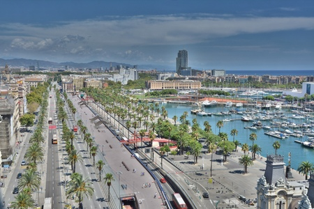colom: Top view of Barcelona marina and promenade