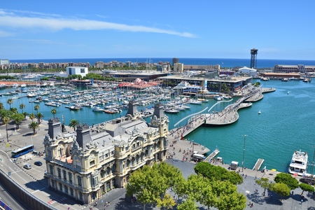 Top view on Barcelona marina and Rambla del Mar