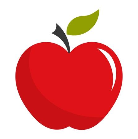 clipart: Manzana roja. Ilustración vectorial