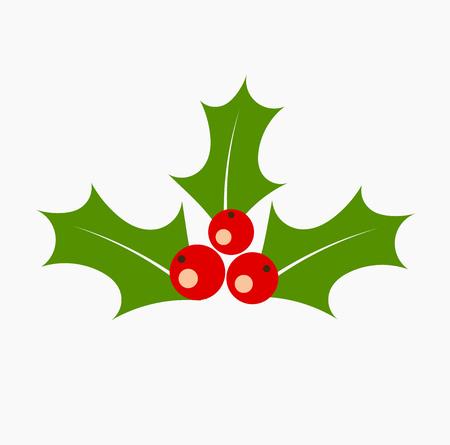 aquifolium: Holly berry icon. Christmas symbol vector illustration Illustration