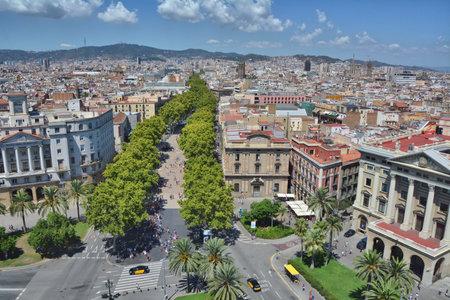 rambla: Top view of Barcelona - La Rambla