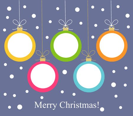 Christmas balls hanging. Vector illustration card