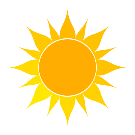sunshine: Flat sun icon. Vector illustration on white background