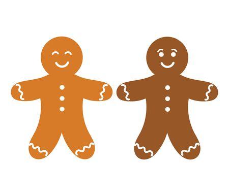 persona feliz: Dos personas de pan de jengibre. ilustración vectorial Vectores