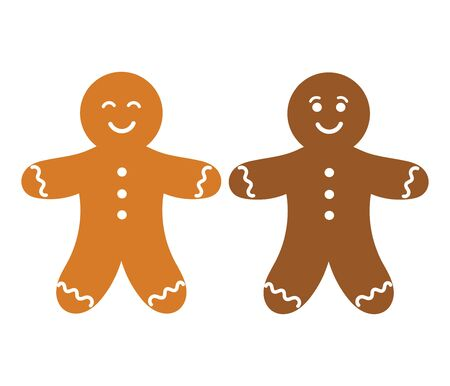 white people: Two gingerbread people. Vector illustration