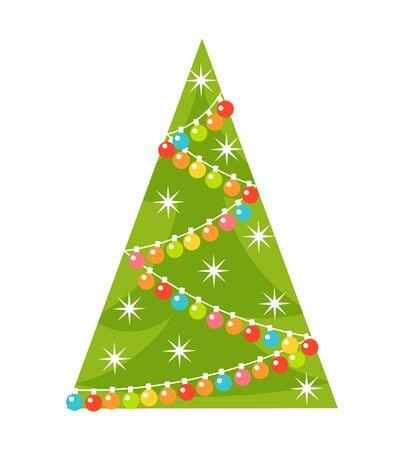 lights: Christmas tree with lights. Vector illustration