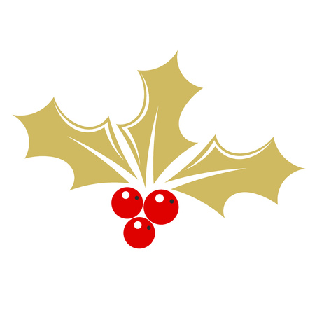 Gold holly berry. Vector illustration