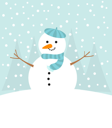 snow background: Cute snowman in winter. Vector illustration  Illustration