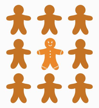 hombre: El hombre de un solo pan de jengibre. ilustración vectorial