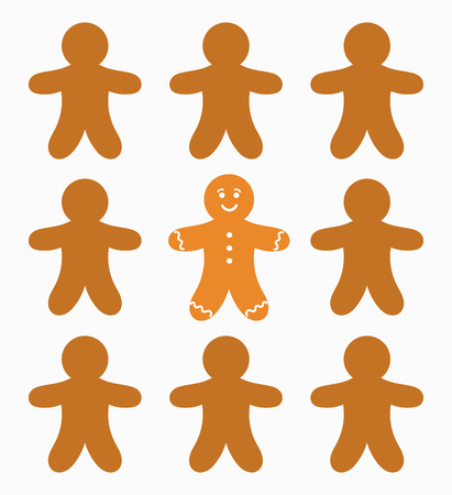 gingerbread: The one gingerbread man. Vector illustration