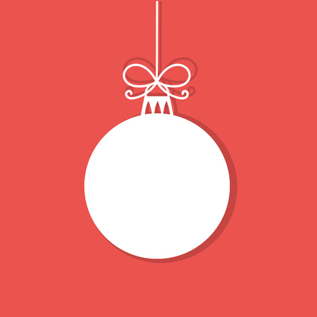 christmas greeting: Christmas bauble white tag. Vector illustration