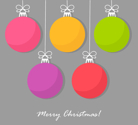 feliz navidad: Christmas baubles card. Vector illustration
