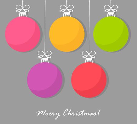 Christmas baubles card. Vector illustration