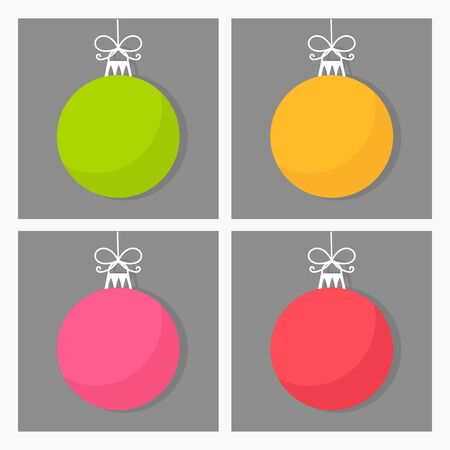 yello: Four Christmas baubles in various colors. Vector illustration