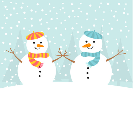 snowman vector: Snowman couple winter card. Vector illustration