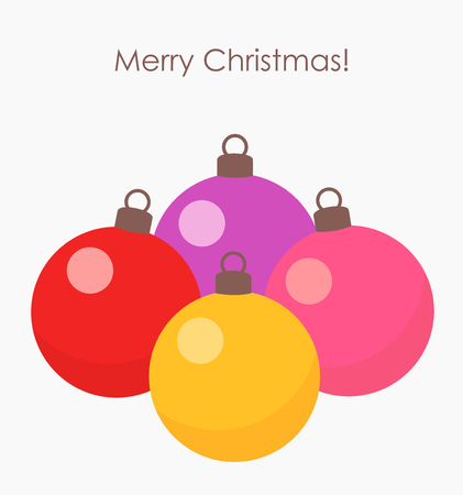 Christmas baubles on white background. Vector illustration