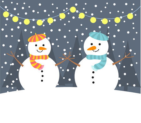 pink hat: Snowman couple in night winter card. Vector illustration Illustration