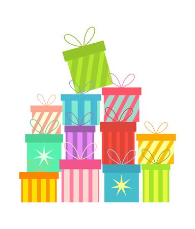 apilar: Pila de coloridos regalos de Navidad