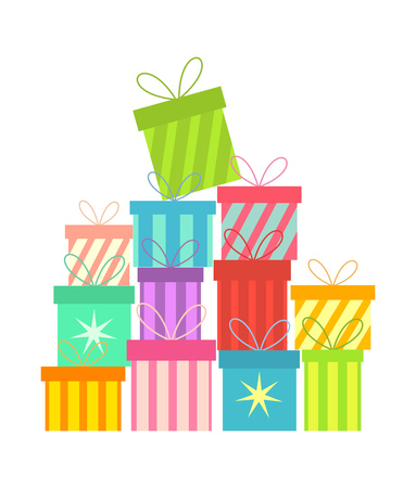 isolated: Stack of colorful Christmas presents Illustration