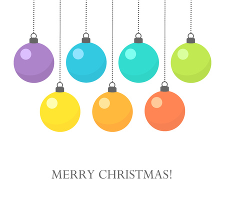 isolated on a white background: Colorful Christmas baubles background. Vector illustration