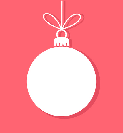 Christmas bauble white tag. Vector illustration