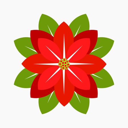 ポインセチアの花、クリスマスのシンボル。ベクトル図