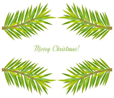 Twigs: Christmas tree branch frame. Vector illustration