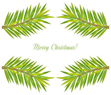 Christmas tree branch frame. Vector illustration