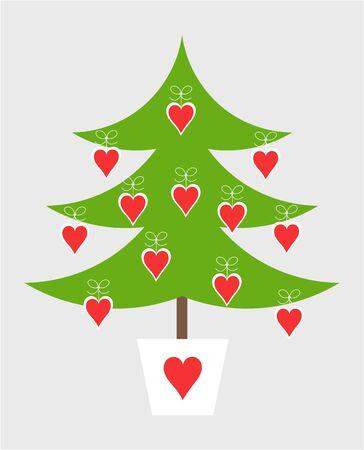 christmas tree: Cute simple decorated Christmas tree. Vector illustration Illustration