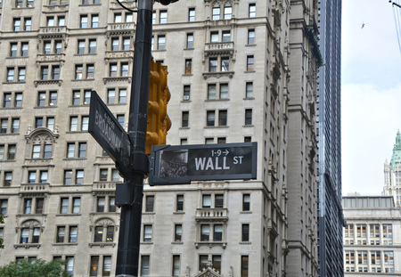 nyse: Wall Street street sign in Manhattan, NYC