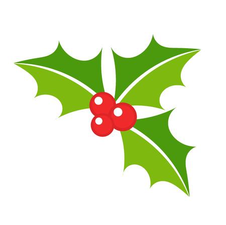 hojas de arbol: Hojas de acebo bayas s�mbolo de la Navidad. vector illustation