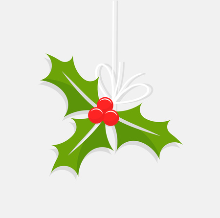 aquifolium: Holly berry Christmas ornament. Vector illustration Illustration