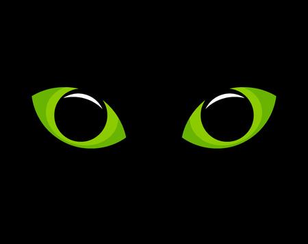 ojos verdes: Ojos de gato verde en la oscuridad. Ilustración vectorial