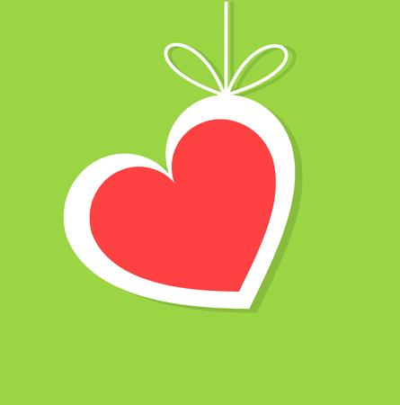 green cute: Cute hanging heart on green background vector