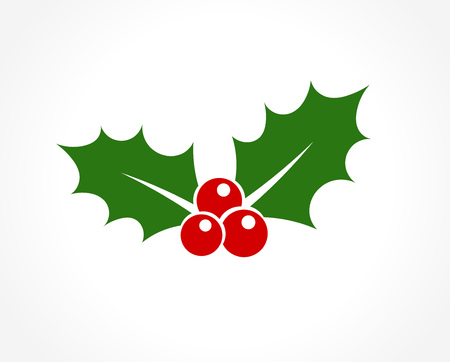 Holly berry leaves Christmas icon. Vector illustration Çizim