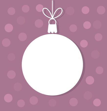 Christmas ball white tag. Vector illustration