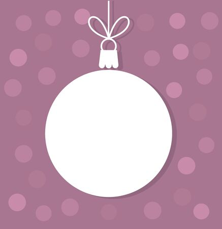 Christmas ball white tag. Vector illustration
