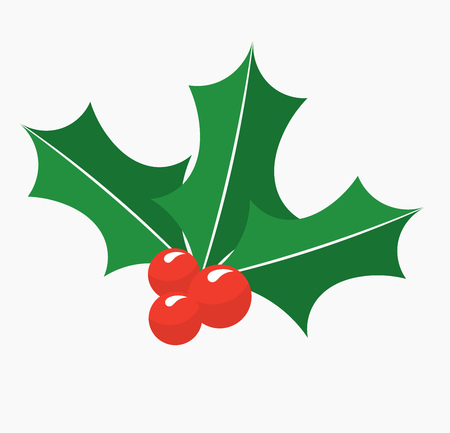 Holly berry leaves Christmas symbol. Vector illustration  イラスト・ベクター素材