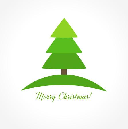 christmas tree illustration: Christmas tree icon. Vector illustration