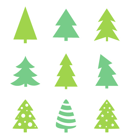 christmas tree illustration: Christmas tree icons. Vector illustration Illustration