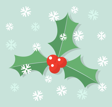 aquifolium: Winter holly berry leaves in snow background. Vector illustration